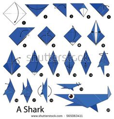 Step By Step Instructions How Make Image vectorielle de stock (libre de droits) de 565063411 – Origami Community : Explore the best and the most trending origami Ideas and easy origami Tutorial Origami Shark, Kids Origami, Origami Paper Art, How To Make Origami, Origami Folding, Useful Origami, Easy Origami, Origami Ideas, Paper Crafts