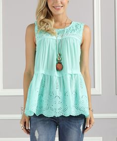 8f976a798bf94 Take a look at this Suzanne Betro Mint Eyelet Lace-Accent Tiered Tank - Plus  Too today!