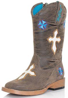 Blazin' Roxx Sierra Brown With Crosses Kids Cowboy Boots [4440802]