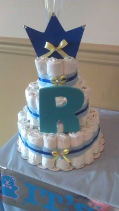 Little Prince Large Baby Shower Diaper Cake by MomentsbyAnabella, $65.00
