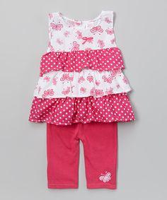 Look at this #zulilyfind! Fuchsia Polka Dot Tiered Top & Leggings - Infant & Toddler by Coney Island Kids #zulilyfinds