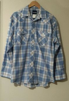 Mens Pearl Snap Sz 16.5 34 Wrangler Plaid Western Long Sleeve Shirt VGUC #Wrangler #Western