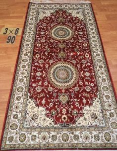 3'x6' Runner Hand-knotted 200 kpsi Silk Oriental Persian Tabriz Rug 1059