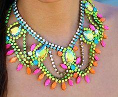 Doloris Petunia Neon Crystal Statement Necklace $390