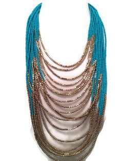 Long Beaded Layered Turquoise/ Gold by BellaHarperBoutique on Etsy