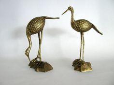 Pair of Mid Century Brass Cranes, Vintage Brass Crane Statues