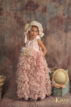 Feather and Silk Dress Tutu Dress Flower by ElenaCollectionUSA, $135.00