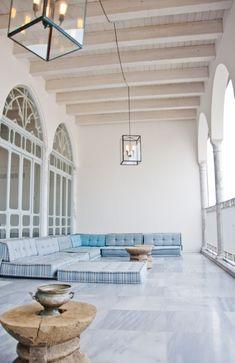Vintage Mediterranean floor seating. Efendi Hotel. Israel.