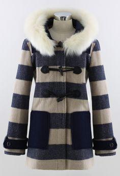 Abrigo con capucha pelo rayas manga larga-Marino US 89.83 Ropa Koreana 88b3654e332d