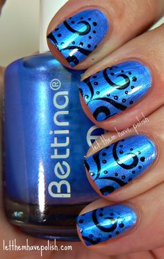 Bettina Gems Sapphire for base and China Glaze's Little Drummer Boy and Konad plate M64 for stamp