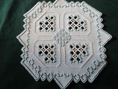 Hardanger Doily Norwegian Embroidery blue with blue