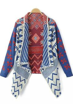 Blue Geometric Print Bat Sleeve Cardigan