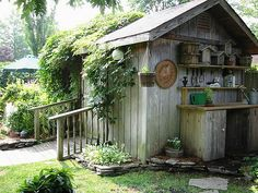 Potting bench outside garden shed.