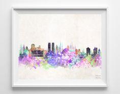 Istanbul Skyline Watercolor Print