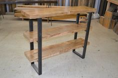 Maple Shelving Unit With Industrial Steel Legs