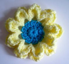3 Soft Yellow and Aqua Turquoise Pedal Flower by CrochetCluster, $3.80