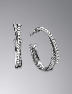 Crossover Earrings, Pave Diamonds, Medium