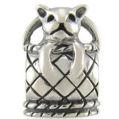 $30.00 This authentic OHM Kitten in a Basket European bead charm is crafted of solid .925 sterling silver and is a wonderful addition to any kitty-lover's bracelet or bead collection. This bead is threaded, stamped .925 and is compatible with major brand sterling silver 3mm Cable European Charm Bracelets. Total weight for this charm is 2.5 grams.