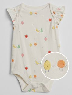 Gap Baby Graphic Flutter Sleeve Bodysuit - Multi Fruit M Kids Prints, Baby Prints, Dresses Kids Girl, Kids Outfits, Hippie Baby, Reborn Baby Dolls, Baby Wearing, Baby Bodysuit, Baby Love
