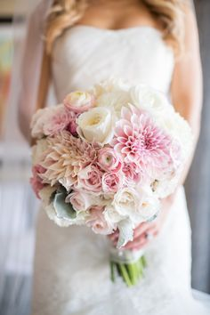 Blush, light pink, and ivory bridal bouquet. Blush dahlias, garden roses, ranunculus, dusty miller, roses. Jessica Lewis Photography. Florals by Jenny