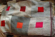 knit afghan blanket laprobe throw blocks