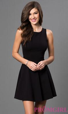 Image of short sleeveless a-line cut out back dress Front Image
