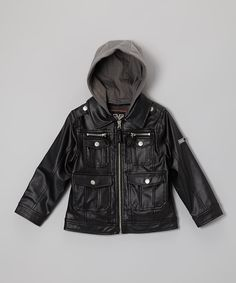 48127ac1a7c5 Take a look at the YMI Kids Black Pleather Detachable-Hood Jacket - Toddler   amp