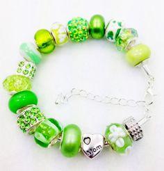 Charm Bracelets for Moms   Green Mom European style charm bracelet by Graceandliz on Etsy, $15.00