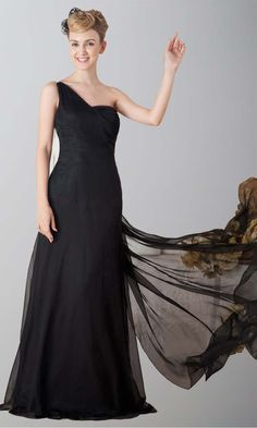 One Shoulder Sequin Back Long Formal Prom Dresses KSP200