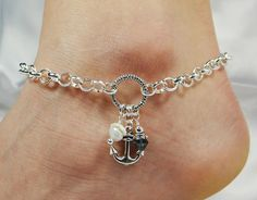 Anklet, Ankle Bracelet, Anchor Anklet, Chain Anklet, White Pearl Anklet Anchor Jewelry Beach Anklet Beach Jewelry Ankle Jewelry Foot Jewelry