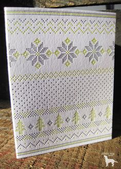 Cross Stitch Snowflake Letterpress Holiday Card Set.  Love it - unfortunately item is no longer available on Etsy.
