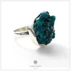 Natural dioptase captured in a sterling silver. Ring Earrings, Personal Style, Gemstone Rings, Diamonds, Jewels, Jewellery, Sterling Silver, Crystals, My Style