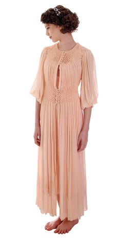 Vintage Silk Pongee Smocked Dressing Gown Robe Peach Colored 1930s 36-26-Free