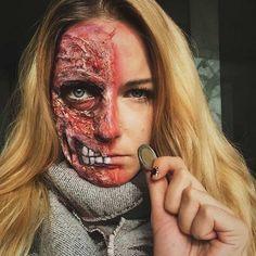 Half Burned Face Gore Halloween Makeup Look