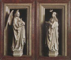 Grisaille van Jan van Eyk over de annunciatie. De engel Gabriel kondigt Maria de geboorte van Jezus aan. De beelden in de nissen lijken driediemensionaal, maar alles is geschilderd, en dus tweedimensionaal.