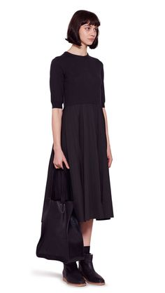 AUTUMN WINTER 2016 COLLECTION - PEAT WOOL/COTTON SILK POPLIN KNITTED TOP DRESS, BLACK LEATHER SHORT BOOT, BLACK SMOOTH SADDLE LEATHER TOTE BAG