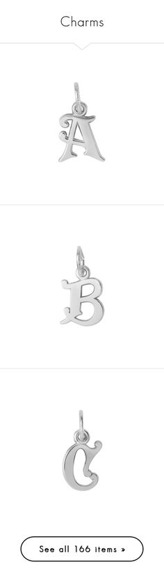 """Charms"" by the-cornetto-queen ❤ liked on Polyvore featuring jewelry, pendants, silver, sterling silver charms pendants, sterling silver jewelry, initial jewelry, charm jewelry, holiday jewelry, letter charms and evening jewelry"