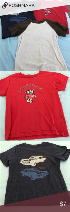 3 boys t-shirts-bundle Navy car t-shirt by Kenneth Cole, red Wisconsin Badgers shirt, brown & tan Old Navy shirt. Small gray spot on tan tee, shown in last pic Shirts & Tops Tees - Short Sleeve
