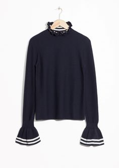 & Other Stories image 1 of Flounce Cuff Sweater in Dark Blue