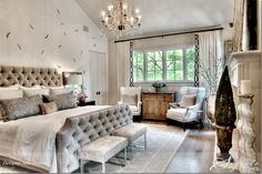 """Lovely master...love the feather wallpaper """"Fromental"""" (Pink Ribbon House...LOVE everything about this home!)"""