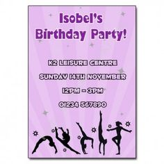 Gymnastics Party Invitation | Personalised Party Invites