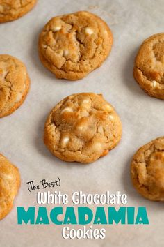 Homemade White Chocolate Macadamia Nut Cookies on parchment paper. White Chocolate Macadamia Cookies, Best White Chocolate, Macadamia Nut Cookies, Hawaiian Cookies, Delicious Desserts, Yummy Food, Yummy Treats, Biscuit Recipe, Cookie Recipes