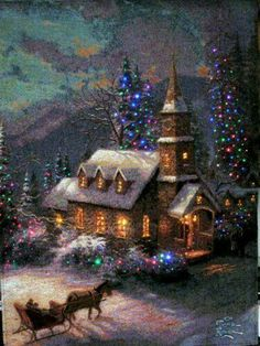 Ideas painting christmas scenes thomas kinkade for 2019