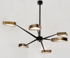 Achille Salvagni - Maison GerardSpider Six arm chandelier, gilt and gun metal patinated bronze, onyx
