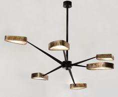 Achille Salvagni - Maison GerardSpider Six arm chandelier, gilt and gun metal patinated bronze, onyx