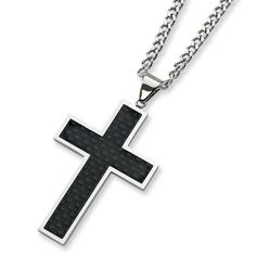 Chisel Black Carbon Fiber and Polished Stainless Steel Cross Necklace on 24 Inch Chain Chisel. $34.95