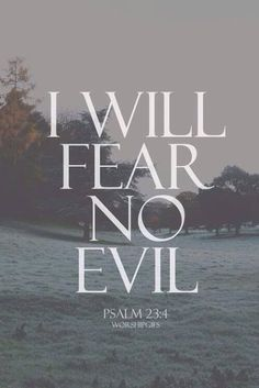 Psalm 23:4...I get caught up in fear so easily.  I have to remember who is behind fear and who is the author of peace!