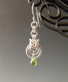 Byzantine Ripple Chain Mail Earrings with Peridot - Etsy seller Wolfstone Jewelry
