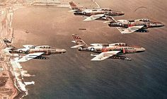 RF-84F Thunderflash jets in formation