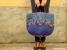 Handmade tote bag, Casual giant Purse, Great look for this large bag. Fabric shades of blues, purple Tote Bags Handmade, Leather Bags Handmade, Crochet Tote, Crochet Purses, Lampe Crochet, Knit Basket, Craft Bags, Tapestry Crochet, Casual Bags